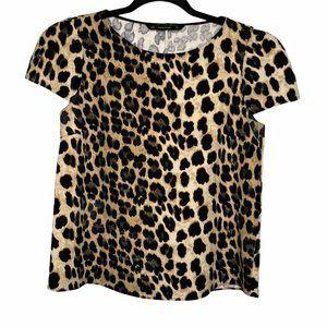 Zara Leopard Printed Top Size M Medium Blouse